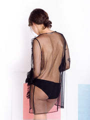 Alexandra Moura Black Transparent Dress back