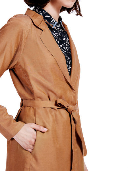 Ambali Maud Camel Trench Coat Pocket Detail