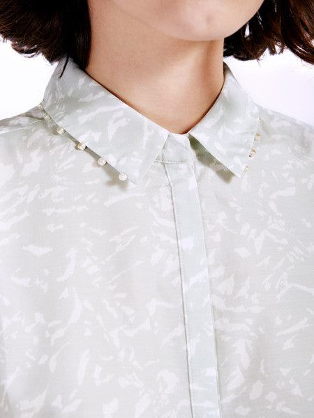 Ambali Light Print Morgan Shirt Collar Detail