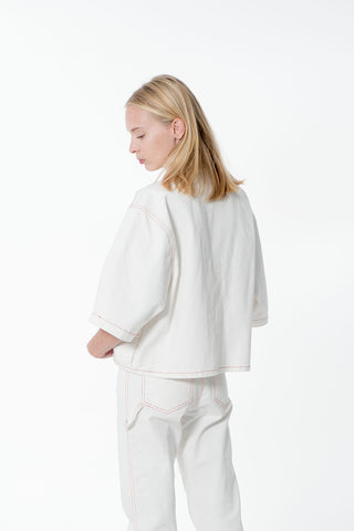 HIBU Unisex Cropped Boxy Shirt in White Made in Portugal Lisbon