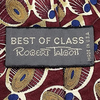 Red Gold Coins Neck Tie Best Class Robert Talbott 100% Silk Vintage Necktie t09