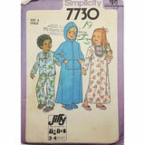 Child Robe Nightgown Pajamas Simplicity 7730 Vintage Sewing Pattern Size 3 c2379