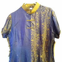 Blue Green Silk Ao Dai Vietnamese Top Pants Lame Vietnam Asian Formal f141