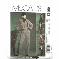 Misses Jacket Vest Skirt Pants McCalls M5193 Sewing Pattern Size 16-22 c2467