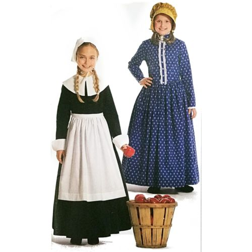 Girls Costumes Pilgrim Prairie Simplicity 3725 Sewing Pattern Size 7-14 c2712