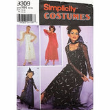 Misses Costumes Simplicity 9309 Sewing Pattern Witch Angel Devil Size 6-12 c2345
