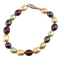Pearl Beaded Bracelet Champagne Rose Pink Green Sterling Silver Fashion b722sxp