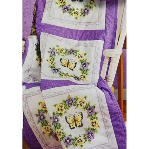 Pansy Butterfly Stamped Cross Stitch 6 Quilt Blocks Janlynn 998-4011 c2651