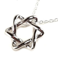 Polished Star of David Pendant Necklace 16 inch Sterling Silver n801s
