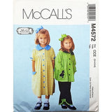 Girls Dress Top Pants McCalls M4572 Sewing Pattern 2004 Size 3-6 c2586