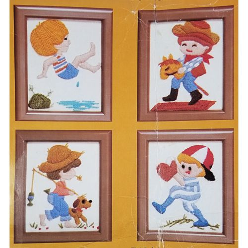 A Little Boys World Stamped Embroidery Kit Vintage Creative Circle 4001 c2649