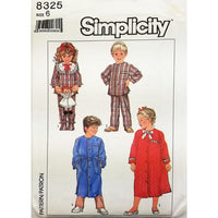 Childs Robe Pajamas Simplicity 8325 Sewing Pattern Vintage 1987 Size 6 c2719