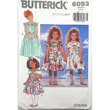 Childrens Dress Butterick 6093 Vintage Sewing Pattern Size 2 3 4 c2380