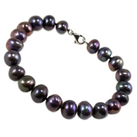 Pearl Beaded Bracelet Dark Gray Round Sterling Silver Grey Fashion b723sgp