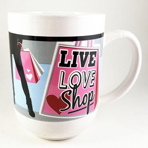 Live Love Shop Coffee Mug Humor 14oz Shopping Royal Norfolk k811