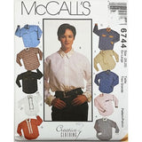 Misses Shirt Jabot Tie McCalls 6744 Sewing Pattern Vintage 1993 Size 20-22 c2589