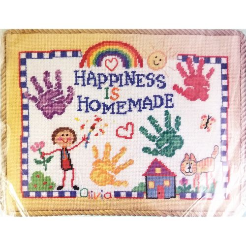 Happiness is Homemade Needlepoint Kit 11 x 14 Bucilla Linda Gillum c2646