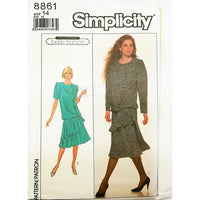 Misses Dress Simplicity 8861 Sewing Pattern Vintage 1988 Size 14 c2730