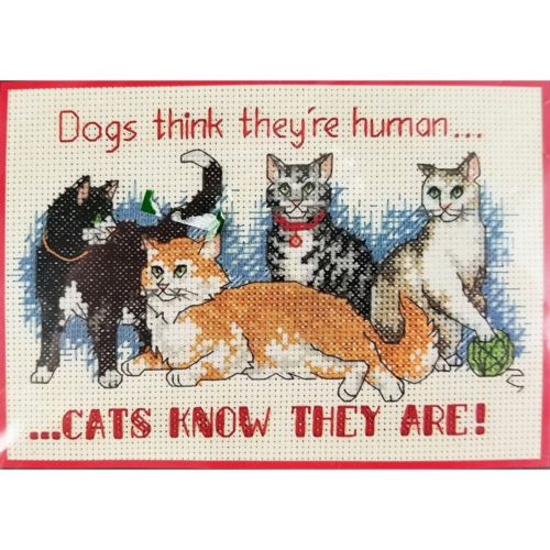 Cats Know Counted Cross Stitch Kit 7 x 5 Dimensions 6787 c2680