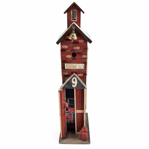 Engine Co Fire Station House Fireman Home Decor Wooden Collectible Bell m312