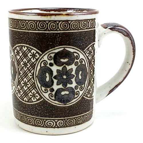 Brown Speckled Asian Coffee Mug Cup 8oz Vintage Circles Floral k724