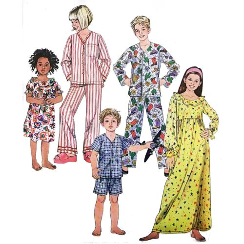 Childs Pajamas Nightgown Simplicity 3987Sewing Pattern 2006 Size 3-6 c2721
