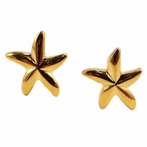 Starfish Stud Earrings Yellow Gold Filled Sterling Silver Pierced Fashion e804g