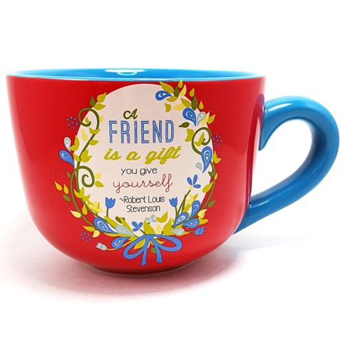 Friend Gift Coffee Mug Cup 14oz Red Blue Words to Breathe By Pavillion k735