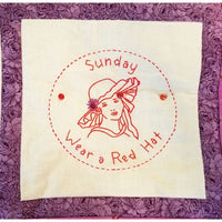 "Red Hat Society Wall Hanging 39 x 23"" Quilt Hand Embroidered Embellished c2738"