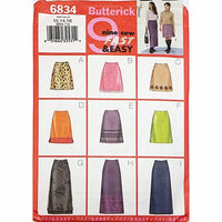 Misses Skirt Butterick 6834 Sewing Pattern Size 12-16 c2365