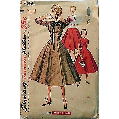 Misses Dress Detachable Collar Simplicity 4806 Pattern 1954 Vintage Size 16 c941