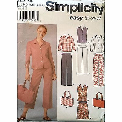 Misses Pants Two Lengths Skirt Bag Simplicity 5204 Pattern 2004 Size 14-22 c1141