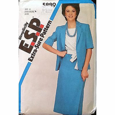 Misses Skirt Top Jacket Simplicity 5889 Pattern Vintage 1983 Size 16 18 20 c1386