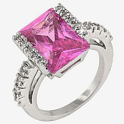Pink Ice Cocktail Ring White Gold Plated Radiant Cut Cubic Zirconia r004sp