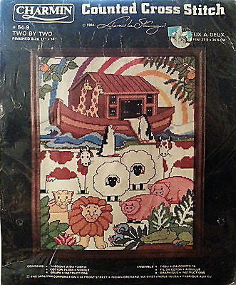 Two by Two Counted Cross Stitch Kit Noahs Ark Animal 11x14 Vintage Charmin c186