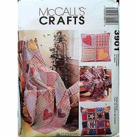 Rag Throws Pillows McCalls Crafts 3901 Pattern 2002 Hearts Stars Quilt c1220
