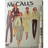 Misses Jacket Skirt Trousers McCalls 6413 Vintage Pattern Size 14 Sewing c518