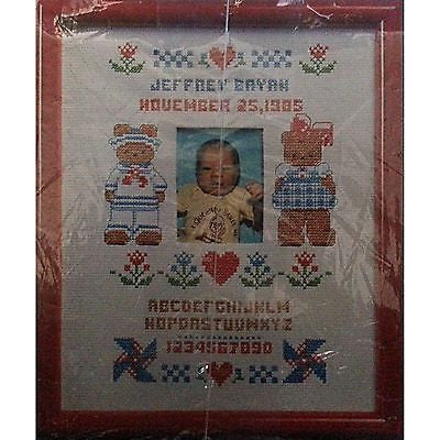 Butterfield Bear Counted Cross Stitch Sampler Vintage 1986 Birth Current c332