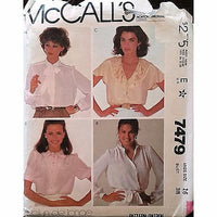 Misses Blouses Ties McCalls 7479 Pattern Vintage 1981 Size 16 Retro c1374