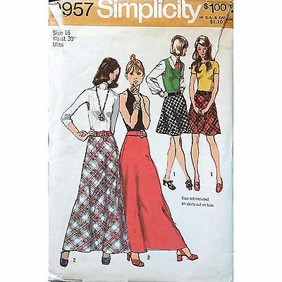Misses Bias Skirt Belt Retro Simplicity 9957 Pattern Vintage 1972 Size 16 c1148