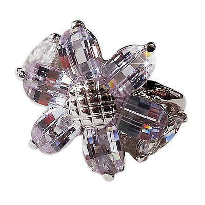 Purple Flower Ring Marquise Cubic Zirconia Cocktail White Gold Plated r013s