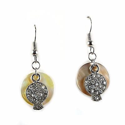 Mother of Pearl Pave Drop Earrings Layered Crystal Silver Plated Round e840s