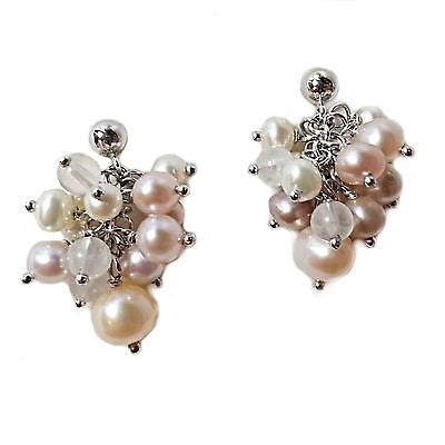 Pearl Stone Cluster Drop Earrings Silver Plated Off White Quartz Crystal e109s
