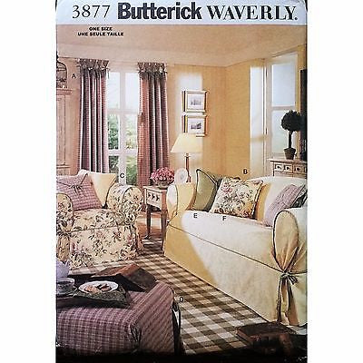 Drapes Slipcovers Pillows Waverly Butterick 3877 Pattern 2003 Home Decor c1185