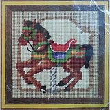 "Completed Rust Brown Carousel Horse Needlepoint 5"" x 5"" Vintage Jiffy c691"
