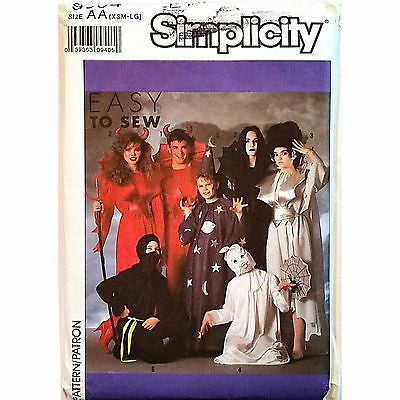 Adults Costumes Halloween Simplicity 9304 Pattern Vintage 1989 Size XSM-LG c1108