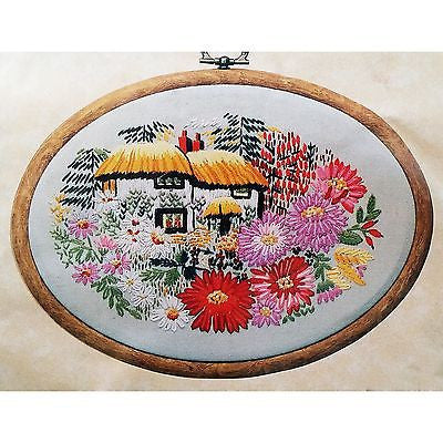 Aster Cottage Embroidery Kit 5 x 7 inch Design Perfection Ltd Nora Barton c1224