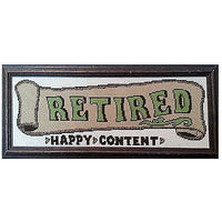 Handworked Retired Happy Content Framed 20x8 Vintage Completed Needlepoint c291