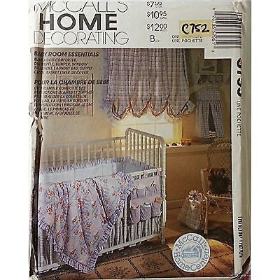 Quilt Dust Ruffle Pillow Bumpers Curtain Caddy McCall's 5795 Pattern Baby c752