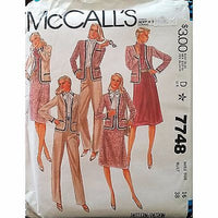 Misses Jacket Blouse Skirt Pants McCalls 7748 Pattern Vintage 1981 Size 16 c1377